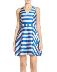 Adelyn Rae Blue Stripe Cross Back Fit & Flare Dress