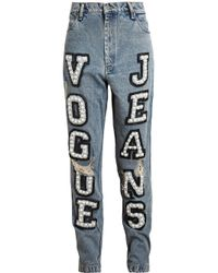 Ashish - Blue Vogue Embellished High-Rise Boyfriend Jeans - Lyst