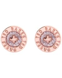 Ted Baker | Metallic Tempany Enamel Button Stud Earrings | Lyst
