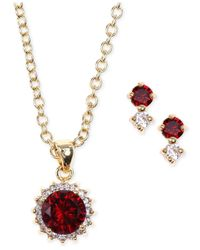 Jones New York - Red Gold-Tone Siam Necklace And Earring Set - Lyst