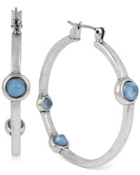 Kenneth Cole | Blue Silver-tone Round Stone Hoop Earrings | Lyst