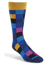 Bugatchi - Blue Check Socks for Men - Lyst
