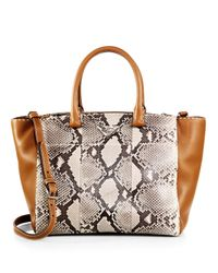 Prada - Multicolor Small Python & Calfskin Topstitched Twin-pocket Tote - Lyst