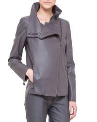 Akris - Metallic Water Repellant Leather Moto Jacket - Lyst