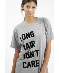 TOPSHOP - Gray Long Hair Don't Care Pajama T-shirt - Lyst