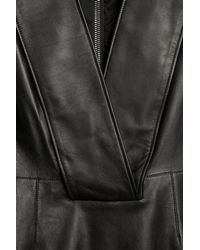 Givenchy | Black Deepv Leather Dress | Lyst