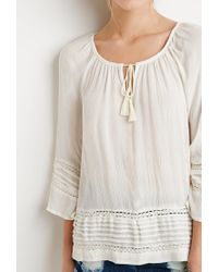 Forever 21 - Natural Crocheted Pintuck Peasant Top - Lyst