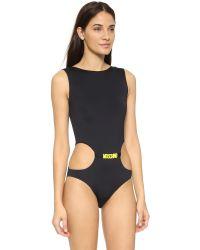 Moschino - One Piece Swimsuit - Black/yellow - Lyst