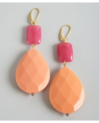 David Aubrey - Pink Jade and Peach Resin Teardrop Earrings - Lyst