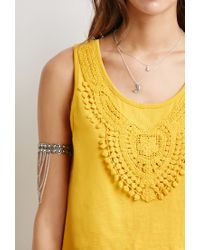 Forever 21 - Yellow Crochet-trimmed Top - Lyst
