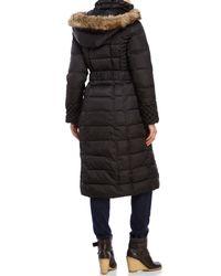 Betsey Johnson - Brown Faux Fur Trim Puffer Coat - Lyst