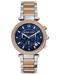 Michael Kors - Pink Women'S Chronograph Parker Two-Tone Stainless Steel Bracelet Watch 39Mm Mk6141 - Lyst