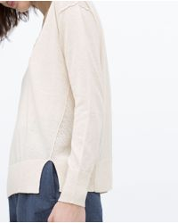 Zara | Natural Knitted Sweater With Vents | Lyst