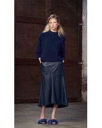 Tibi Blue Leather Fluted Skirt