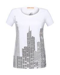 BOSS Orange - White T-shirt With Foil-print Effects: 'tishirt' - Lyst