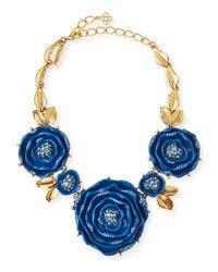 Oscar de la Renta | Blue Resin Crystal Necklace | Lyst