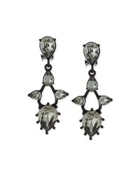 Oscar de la Renta | Black Pear Crystal Drop Clip Earrings | Lyst