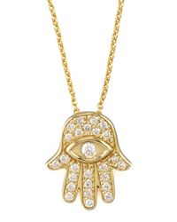 Roberto Coin - Metallic Gold Hamsa Pendant Necklace - Lyst