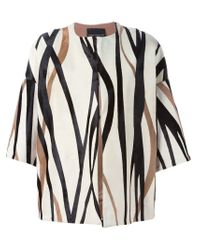 Erika Cavallini Semi Couture - Natural Boxy Striped Jacket  - Lyst