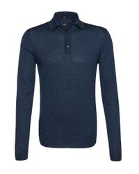 BOSS - Blue 't-daris-e' | Slim Fit, Italian Silk Wool Polo Sweater for Men - Lyst