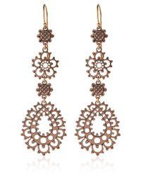 Laurent Gandini - Pink Rose Gold Lace Flower Drop Earrings - Lyst