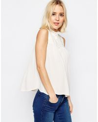 ASOS | Natural Pretty Sleeveless Blouse With Shirring Detail | Lyst