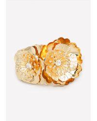 Bebe - Metallic Metal Flower Bracelet - Lyst