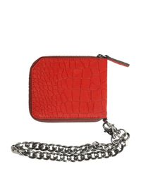 Jimmy Choo | Red Embossed Nubuck Coin Wallet W/ Chain for Men | Lyst