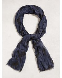 John Varvatos | Blue Crinkled Camo Scarf for Men | Lyst