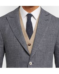 Hardy Amies - Blue Navy Prince Of Wales Check Linen And Wool-Blend Blazer for Men - Lyst