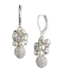 Anne Klein | Metallic Faux Pearl And Pave Sphere Cluster Drop Earrings | Lyst