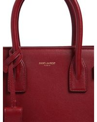 Saint Laurent - Red Baby Sac De Jour Grained Leather Bag - Lyst