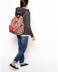 Eastpak - Padded Pakr with Red Floral Print - Lyst