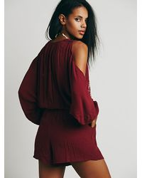 Free People - Red Womens Love Is All Around Romper - Lyst