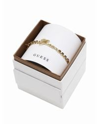 Guess | Metallic My In A Box Logo Smoked Topaz Stones Yellow Gold-plated Bracelet | Lyst