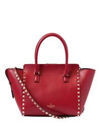 Valentino | Red Small Rockstud Nappa Leather Top Handle | Lyst
