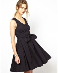 Mademoiselle Tara - Blue Bow Detail Dress In Navy - Lyst
