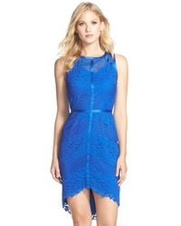 Adelyn Rae | Blue Lace, Mesh & Chiffon Sheath Dress | Lyst