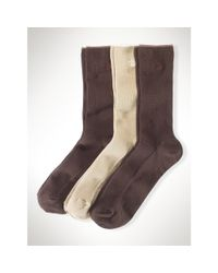Ralph Lauren | Brown Ribbed Trouser Sock 3-pack | Lyst