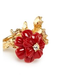 Alexander McQueen - Red Crystal Resin Duo Flower Skull Ring - Lyst
