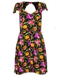 TOPSHOP - Black Open Back Skater Dress By Rare** - Lyst