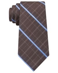 Michael Kors | Brown Michael Pin Plaid Slim Tie for Men | Lyst