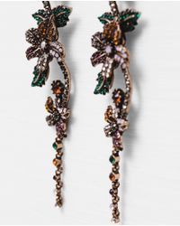Zara | Metallic Flowers And Pendant Earrings | Lyst