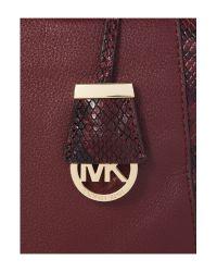 Michael Kors | Purple Riley Burgundy Python Slough Tote Bag | Lyst
