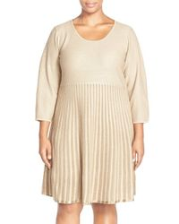 Calvin Klein | Natural Scoop Neck Fit & Flare Sweater Dress | Lyst