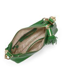 MICHAEL Michael Kors   Green Small Bedford Tassle Pebbled Messenger Bag    Lyst