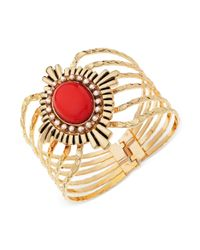 Guess - Metallic Goldtone Coral Cabochon and Crystal Hinge Bangle Bracelet - Lyst