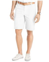 "Izod | Blue Solid Flat-front 7"" Shorts for Men 