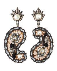 Lanvin - Black Crystal Paisley Drop Earrings - Lyst