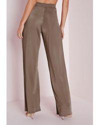 Missguided | Metallic Slinky Wide Leg Trousers Bronze | Lyst